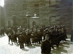 Workers outside Dens Works, Dundee