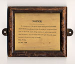 Wooden framed fire safety notice, 1862