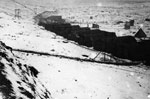 Nissen huts in the snow during World War I