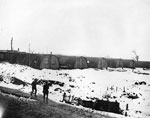 Camp of Nissen huts behind the frontline, during World War I