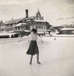 Young woman ice-skating in Bavaria, 1936