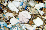 Photomicrograph of sandstone from Crossraguel Abbey near Maybole in South Ayrshire