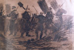 """A working party in the trenches carrying gabions"" by H H Crealock"