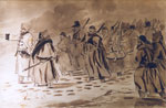 """Evening - the reliefs going to the trenches. Picquet House Hill"" by H H Crealock"