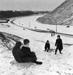 Children sledging in Holyrood Park