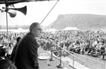 Mr Michael Foot, MP, addresses miners and their families during the Miners Gala Day at Holyrood Park in Edinburgh