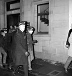 Protestors are led away by police during Enoch Powell's visit to St Andrews Town Hall for the Annual dinner of the University of St Andrews