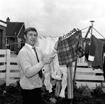 Ken Buchanan hangs shorts out to dry