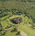 Aerial view of Caerlaverock Castle, Dumfries & Galloway