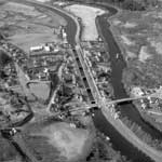 Aerial view, Fort Augustus Locks, Caledonian Canal, Highland, from east
