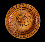 Pottery plate with deer glyph