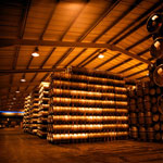 Beer casks in a brewery storage