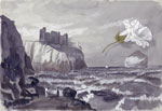 Drawing of Tantallon Castle and Bass Rock, East Lothian