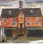 A painting of a red brick house, location not known