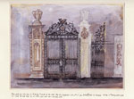 A detailed painting of the hall gates at Marston Trussell