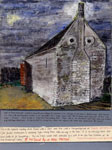 A detailed painting of a 14th century barn in Thorpe Waterville