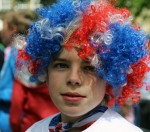 A Young Partygoer in a Red, White and Blue Wig at a Street Party in Murrayfield, Edinburgh