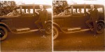 Sepia image of Jemima Mackinlay de Meza sitting in a car in Nyasaland