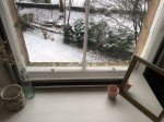 A window sill overlooking a snowy garden