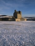 Winter view of Corgarff Castle in the snow