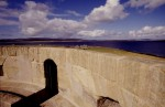 Detail of the terrace roof and recesses in the parapet wall of Hackness Martello Tower