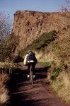 Cyclist in Holyrood Park