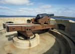 General view of gun on the revolving traversing carriage of Hackness Martello Tower