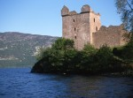 The tower at Urquhart castle, taken from the shore in Urquhart bay