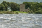 Distant view of Lochleven Castle