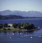 General view of Dunstaffnage Castle and Dunstaffnage Bay