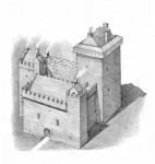 An illustration of Crichton Castle after Lord Crichton added a banqueting hall, on the left, and a kitchen and private chambers
