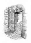 An illlustration of the doorway into Chancellor Crichton's Great Hall, Crichton Castle
