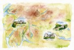 An illustrated colour map of Central Scotland showing Castle Campbell, Argyll's Lodging and Inveraray Castle