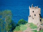 A general view of Grant Tower at Urquhart Castle overlooking Loch Ness