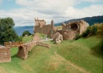 A view of the drawbridge, gatehouse and Grant Tower at Urquhart Castle