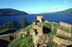 A view of Urquhart Castle and Loch Ness from the summit