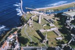 An aerial view of St Andrews Cathedral and St Rule's Church