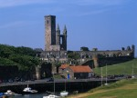A general view of St Rule's Church and St Andrews Cathedral from the harbour at St Andrews