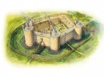 Reconstruction drawing of Dirleton Castle showing how the castle may have looked about 1290