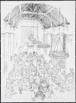 Drawing of a feast being held at Huntingtower Castle