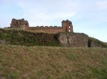 View of castle behind outer defences at Tantallon Castle