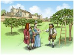 An illustration of the orchard at Aberdour Castle