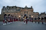 A pipe band at Edinburgh Castle during the Miss World competition entrants visit to Edinburgh Castle
