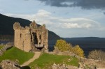 A general view of Urquhart Castle with Loch Ness in the background