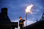 The Governor of Edinburgh Castle, Major-General Nick Eeles, lighting the Jubilee beacon at Edinburgh Castle to celebrate HRH Queen Elizabeth II's Diamond Jubilee