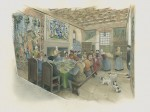 A reconstruction drawing of the Hall at Tolquhon Castle, c