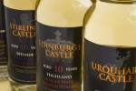 Miniature bottles of whisky named after the 5 main Historic Scotland attractions, Edinburgh Castle, Iona Abbey, Urquhart Castle, Skara Brae, Stirling Castle