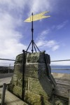 View of the new gilded weathervane at St Andrews Castle
