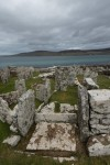 View of Broch of Gurness, an Iron Age settlement with a small village arranged around a central, massive broch tower