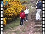 Easter egg rolling: Girls rolling their Easter eggs on Blackford Hill (video clip)